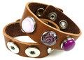 DoubleBeads-EasyButton-leren-armband-met-metaal-±-245x25cm-(bruin)